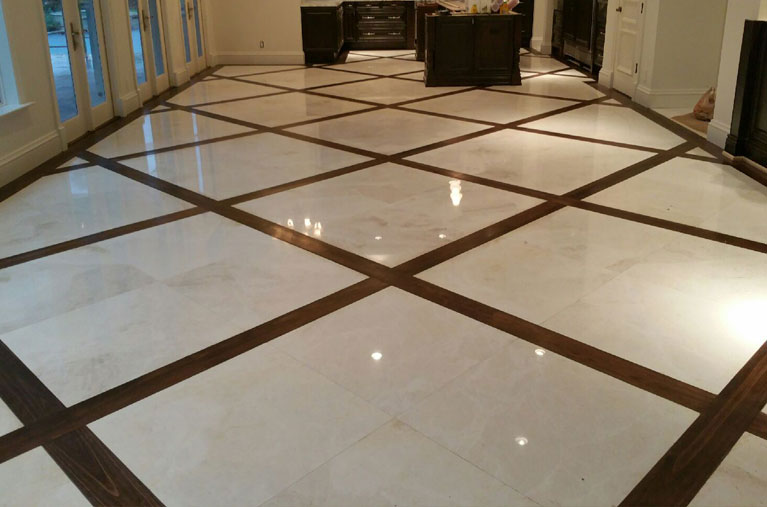 Tile Floor Installation Work With The